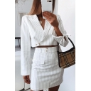 Ladies Graceful Stripe Print Long Sleeve Tied Cuff Crop Blazer with Mini A-Line Skirt Co-ords