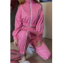 Pink Stylish Reflective Striped Panel Long Sleeve Zip Up Cropped Coat Elastic Waist Sweatpants Co-ords