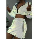 Gray Reflective Long Sleeve Zip Up Crop Hooded Top with Mini Skirt Two Piece Co-ords