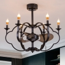 Metallic Candle Chandelier Pendant Light Industrial Style 6 Bulbs Black Finish Hanging Light for Bedroom