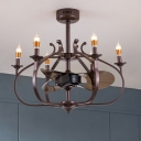 Metal Onion Cage Chandelier Light Industrial Style 6 Heads Pendant Lighting Fixture with Bare Bulb in Coffee