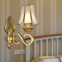 1/2 Heads Metallic Sconce Light Retro Gold Curved Arm Wall Lighting with Beveled Glass Shade