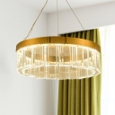 Contemporary Round Crystal Chandelier Lighting LED Hanging Ceiling Light in Brass for Living Room