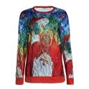 Creative Santa MERRY CHRISTMAS Letter Print Long Sleeve Round Neck Pullover Sweatshirt