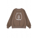 Popular Letter FRIEND Cartoon Bear Pattern Long Sleeve Casual Graphic Sweatshirt