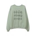 Women Korean Style Long Sleeve Crew Neck Cartoon Patterned Oversize Boyfriend Sweatshirt