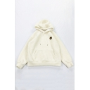 Preppy Cute Cartoon Bear Head Pattern Long Sleeve Oversized Fleece Hoodie in Beige
