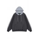 Casual Color Block Drawstring Hood Striped Long Sleeve Half Zip Oversized Hoodie