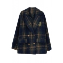 Fashion Girls' Long Sleeve Notch Lapel Neck Double Breasted Plaid Printed Loose Wool Coat in Dark Green