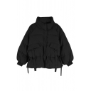 Fashion Street Women's Balloon Sleeve Stand Collar Zipper Front Flap Pockets Buckle Strap Drawstring Plain Baggy Down Coat