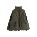 Cool Street Long Sleeve Zipper Front Pockets Side Baggy Thick Plain Puffer Coat for Girls