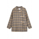 Korean Style Girls' Long Sleeve Lapel Neck Plaid Pattern Baggy Duffle Jacket in Yellow