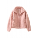 Plain Casual Long Sleeve Stand Collar Zipper Front Pockets Side Shearling Fleece Loose Jacket for Women