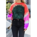 Pretty Cool Girls' Long Sleeve Crew Neck Ombre Loose Fit Crop Pullover Sweatshirt
