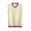Hot Popular Contrast Stripe V-Neck Sleeveless Apricot Casual Knit Sweater Vest