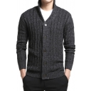 British Style Plain Long Sleeve Button Down Slim Fit Cable Knit Cardigan Coat