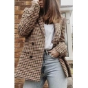 Stylish Ladies' Long Sleeve Notch Lapel Neck Double Breasted Plaid Printed Loose Blazer in Khaki
