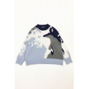 Unique Snow Mountain Abstract Painting Long Sleeve Light Blue Relaxed Pullover Sweater