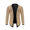 Party Men's Popular Contrast Trim Sequined Long Sleeve Open-Front Unbuttoned Cardigan Jacket