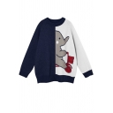 Girls Cute Elephant Print Colorblock Long Sleeves Round Neck Oversized Cocoon Sweater