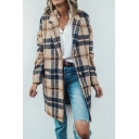 Trendy Ladies' Long Sleeve Notch Collar Plaid Printed Button Down Loose Midi Wool Coat in Khaki