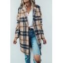 Trendy Ladies' Long Sleeve Notch Collar Plaid Printed Button Down Loose Midi Wool Coat in Khaki