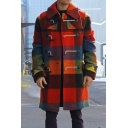 Mens Fashionable Red Checked Pattern Long Sleeve Toggle Button Longline Woolen Coat
