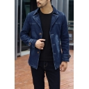 Mens Casual Plain Long Sleeve Notch Lapel Single Breasted Slim Fitted Jean Jacket