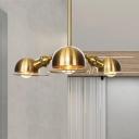 Black/Brass Dome Chandelier Light Fixture Farmhouse Style 3 Lights Metal Pendant Lighting with Frame Design