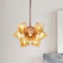 9/12 Lights Living Room Chandelier Lighting Industrial Copper/Gold Finish Hanging Fixture with Diamond Amber/Clear Glass Shade