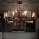 Metallic Rust Chandelier Half Round Frame 12-Light Farmhouse Style Suspended Lighting Fixture