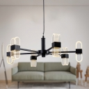 Radial Chandelier Lamp Modern Metal 6/8/12 Heads Black Hanging Ceiling Light with Acrylic Shade in Warm/White Light