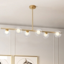 Clear Glass Globe Island Light Contemporary 6 Heads Gold Hanging Ceiling Light for Dining Room