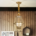 Clear Glass Lantern Chandelier Lamp Traditional 3 Heads Corridor Pendant Light Fixture