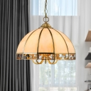 5 Bulbs Bowl Pendant Lamp Colonial Gold Frosted Glass Chandelier Light Fixture for Restaurant