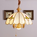 Scalloped Living Room Pendant Chandelier Colonial Bubble Glass 5 Heads Gold Hanging Ceiling Light