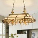6 Bulbs Faceted Island Pendant Light Colonial Gold Frosted Glass Ceiling Suspension Lamp for Restaurant