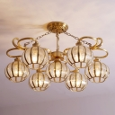 7 Bulbs Global Pendant Light Traditional Gold Frosted Glass Chandelier Lamp for Living Room