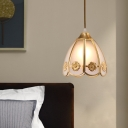 Brass Single Head Down Lighting Traditional Opal Frosted Glass Scalloped Pendant Ceiling Light for Entry