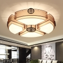 Fabric Black/Brass Ceiling Flush Circular 8 Heads Traditional Flush Mount Lamp for Bedroom