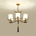 Milky Glass Black and Gold Chandelier Cylinder 6/8/10 Lights Traditionalism Down Lighting Pendant for Living Room