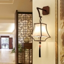 Bell Hallway Sconce Light Chinese Metal 1 Head White Wall Lighting Fixture with Fabric Shade