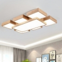 Acrylic Rectangle Flush Mount Light Contemporary LED Wood Close to Ceiling Lamp in Warm/White Light