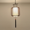 1 Head Lantern Pendant Lamp Traditional White/Red Fabric Hanging Light Fixture for Restaurant, 10
