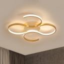 Gold Double S-Shape Ceiling Light Postmodern Acrylic LED Flush Mount Lamp in Warm/White Light