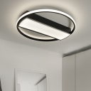 Rectangle Flush Mount Light Modern Acrylic Black/White LED Ceiling Lighting, 16