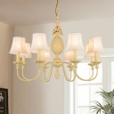 Curved Arm Resin Chandelier Lamp Modern Style 5/8 Lights Yellow Ceiling Pendant Light with Barrel Fabric Shade