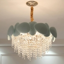 9 Heads Cascade Hanging Chandelier Contemporary Clear Crystal Ceiling Pendant Light