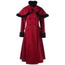 Women's Red Vintage Long Sleeve Lapel Neck Double Breasted Fuzzy Trim Lace Up Back Pleated Long A-Line Wool Coat with Bow Tie Shoulder Cape