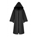 Chic Halloween Girls' Bell Sleeve Hooded Bow Tied Oversize Maxi Plain Trench Coat